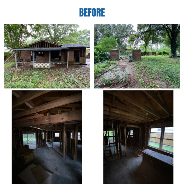 """Photo collage of """"before"""" photos of the house's exterior"""