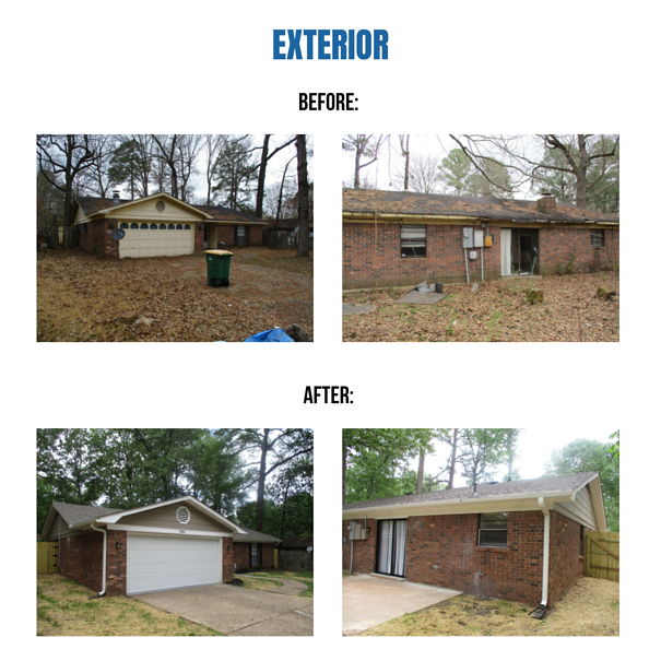 """Photo collage of """"before"""" and """"after"""" exterior photos"""
