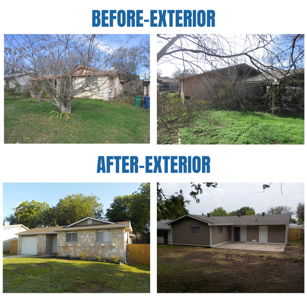 Before and after photos of the exterior of the residence