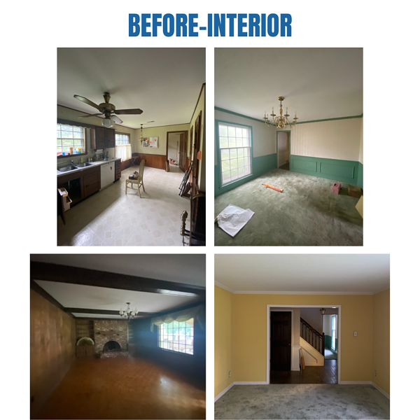 """Photo collage of """"before"""" interior photos"""