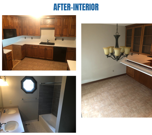 After photos of the kitchen and bathroom
