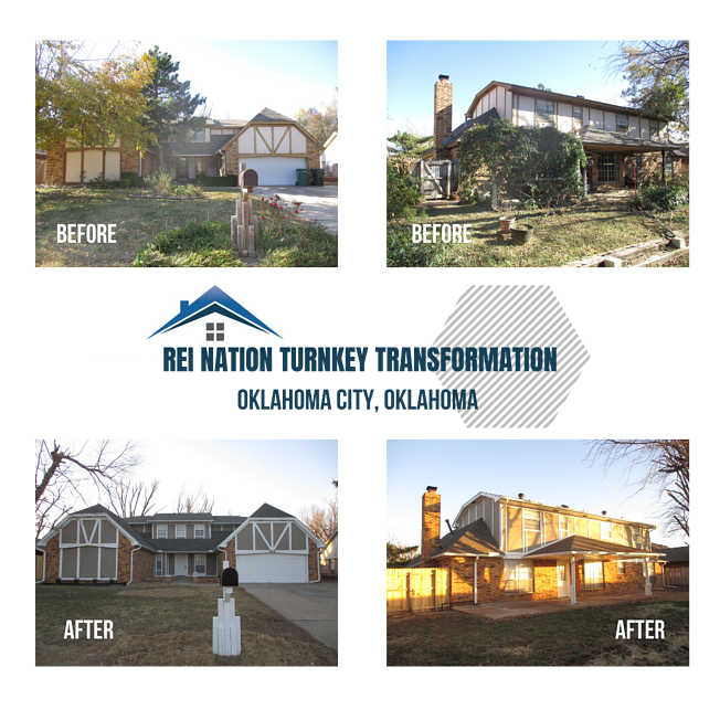 """Before and after picture of the exterior of a house: """"REI Nation Turnkey Transformation: Oklahoma City, OK"""""""