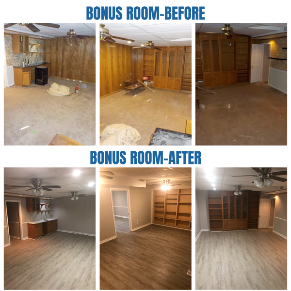 Before and after photos of the bonus room