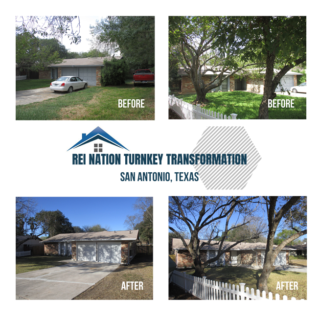 Photo collage of REI Nation Turnkey Transformation in San Antonio, Texas