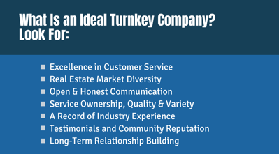 What Is An Ideal Turnkey Company?