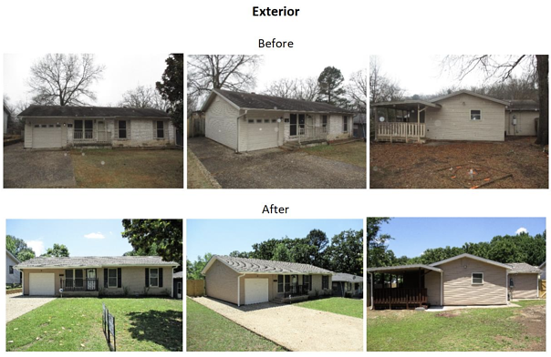before and after exterior photos