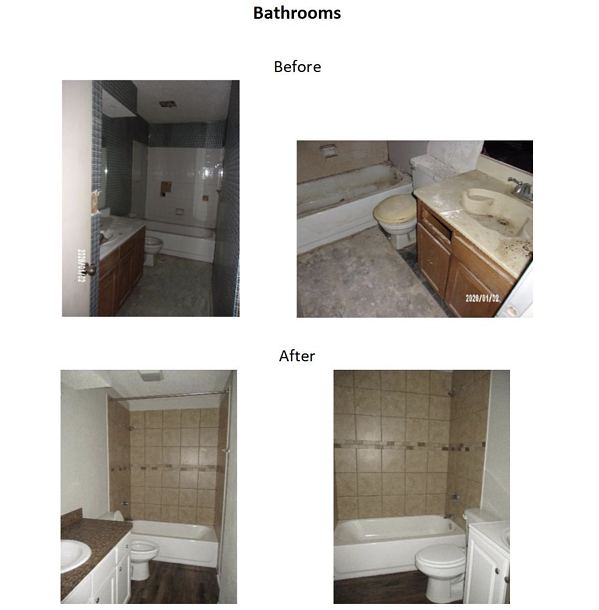 before and after bathroom photos