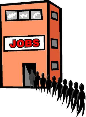 building sign jobs line of people graphic