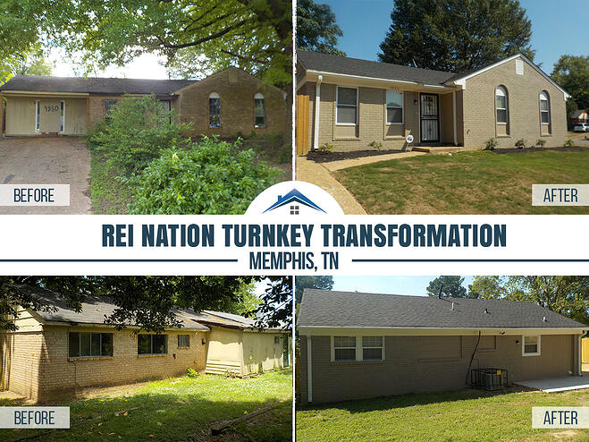 before and after pics of front and back of turnkey property house