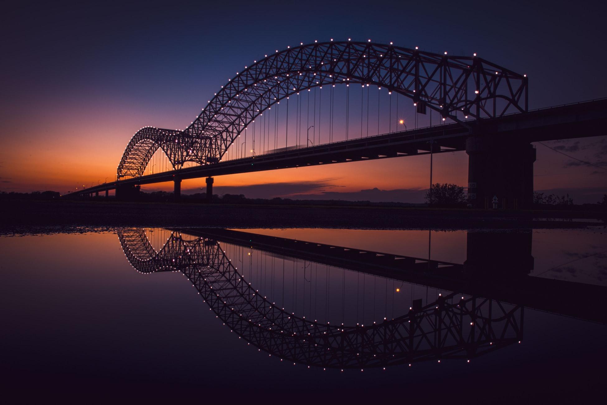 The Memphis Bridge at sunset