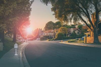 Sunrise view of a quiet neighborhood